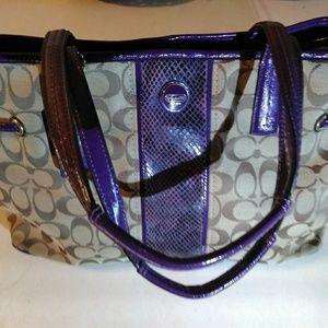 Coach Purse, Brown w/beautiful purple snakeskin de